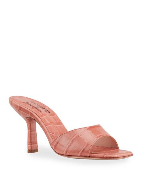 Schutz Posseni Mock-Croc Slide Sandals