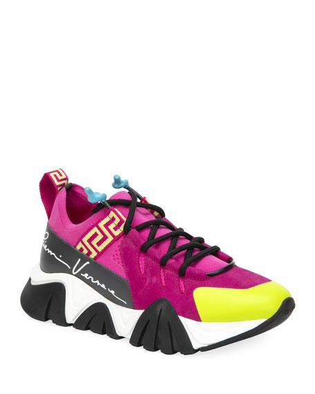 Versace Mixed Media Greek Key Trainer Sneakers