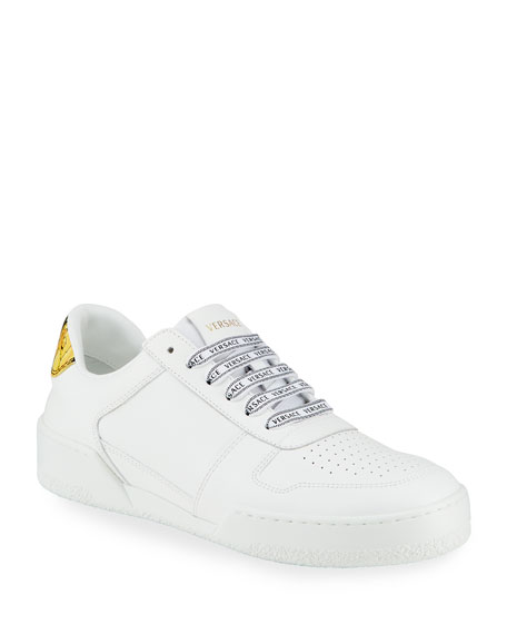 Versace Barocco Leather Low-Top Sneakers