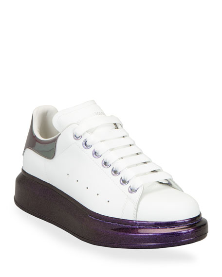 Alexander McQueen Oversized Leather Sparkled-Heel Sneakers