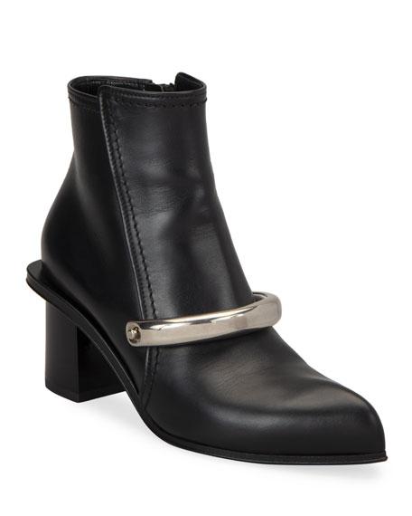 Alexander McQueen Metal Bar Leather Booties