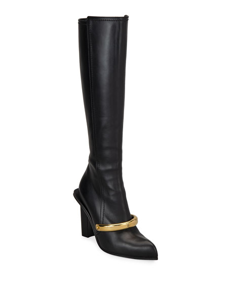 Alexander McQueen Metal Bar Leather Knee Boots