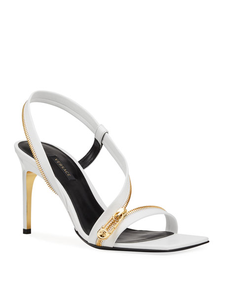 Versace Golden Zipper Stiletto Sandals