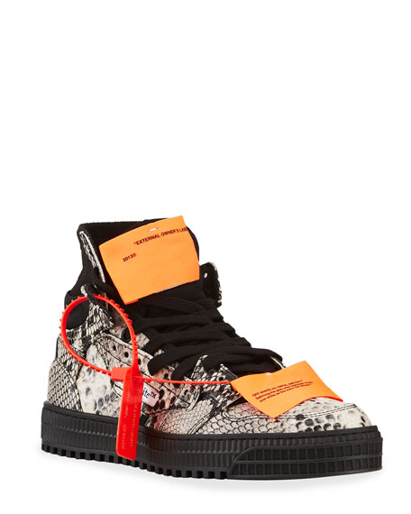 Off-White 3.0 Court Snake-Embossed High-Top Sneakers