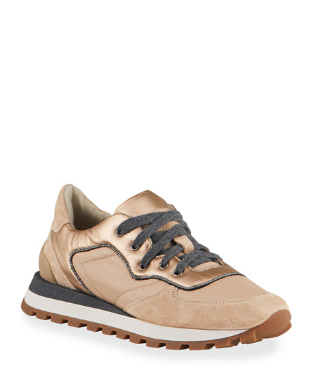 Brunello Cucinelli Metallic Monili Fashion Runner Sneaker