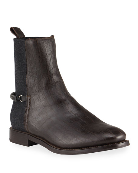 Brunello Cucinelli Croc-Embossed & Wool Knit Slip-On Booties with Monili Spur