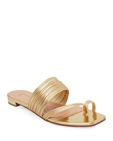 Aquazzura Sunny Flat Metallic Slide Sandals