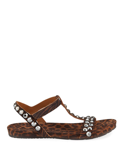 Jeril Animal-Print Crystal T-Strap Sandals