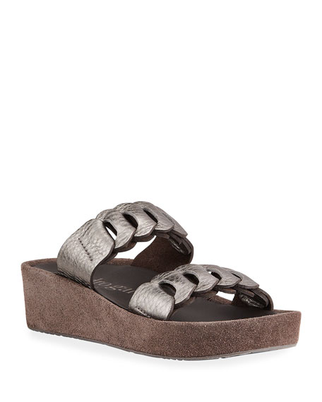 Pedro Garcia Leona Metallic Two-Band Slide Sandals
