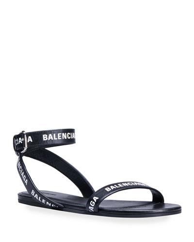 Logo Ankle-Strap Flat Sandals