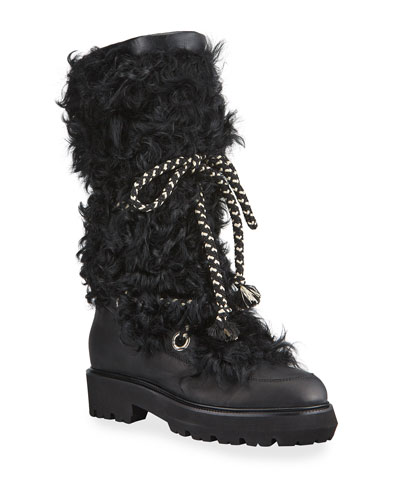 Mary Tall Shearling Lace-Up Boots