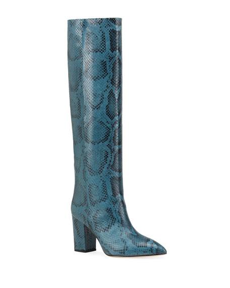 Paris Texas 80mm Python-Print Knee Boots