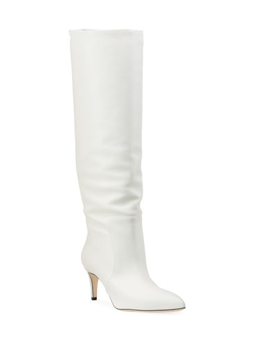 White Covered Heel Boots | Neiman Marcus