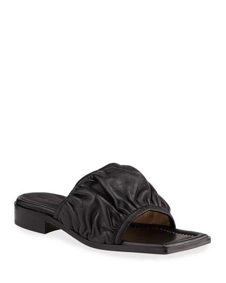 Wandler Mila Puffy Lambskin Flat Sandals