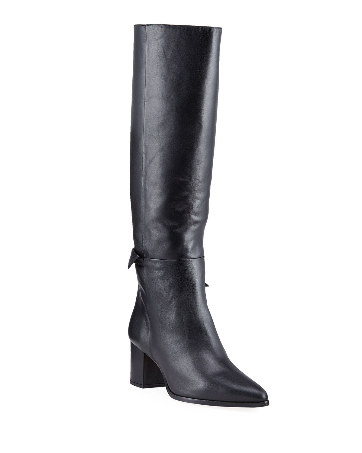 Clarita Leather Bow Knee Boots
