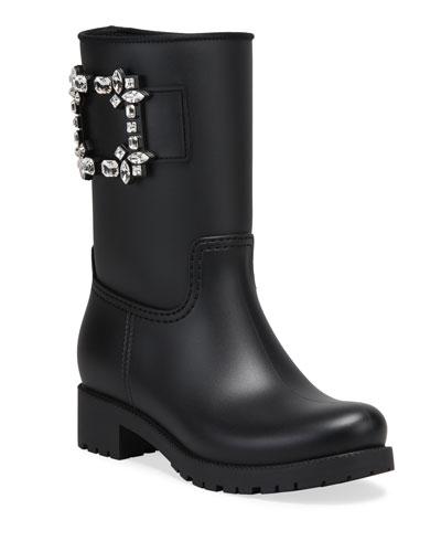 Viv Run Buckle Rain Boots, Black