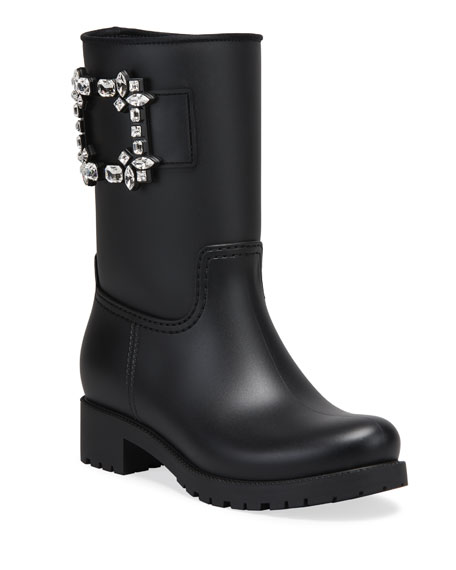 Roger Vivier Viv Run Buckle Rain Boots, Black