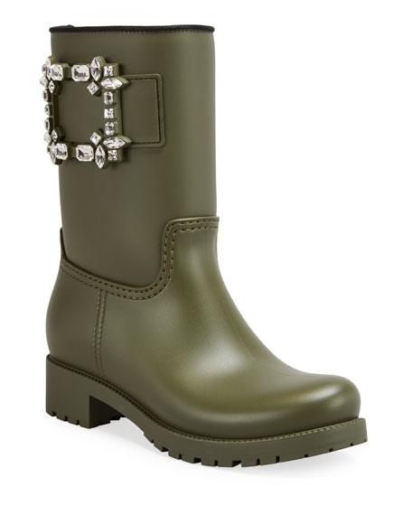 Roger Vivier Viv Run Buckle Rain Boots, Green