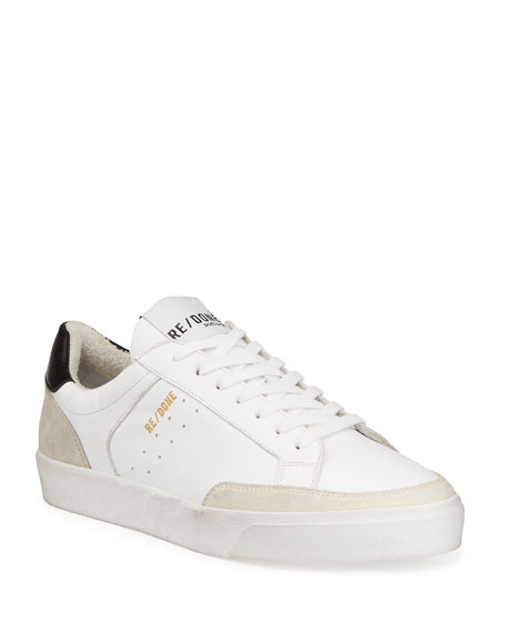 RE/DONE Mixed Leather Low-Top 90s Skate Sneakers