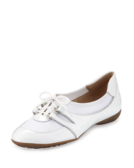Sesto Meucci Bonnie Stretch Patent Sneakers, White