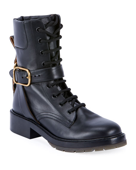 Chloe Diane Lace-Up Buckle Combat Booties
