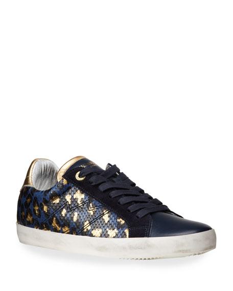 Zadig & Voltaire Zadig Metallic Snake and Leopard-Print Sneakers