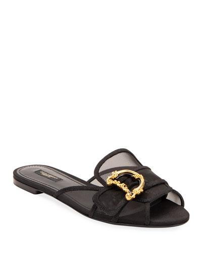 Flat Slide Sandals with DG Buckles