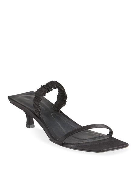 Khaite Georgia Kitten-Heel Satin Slide Sandals