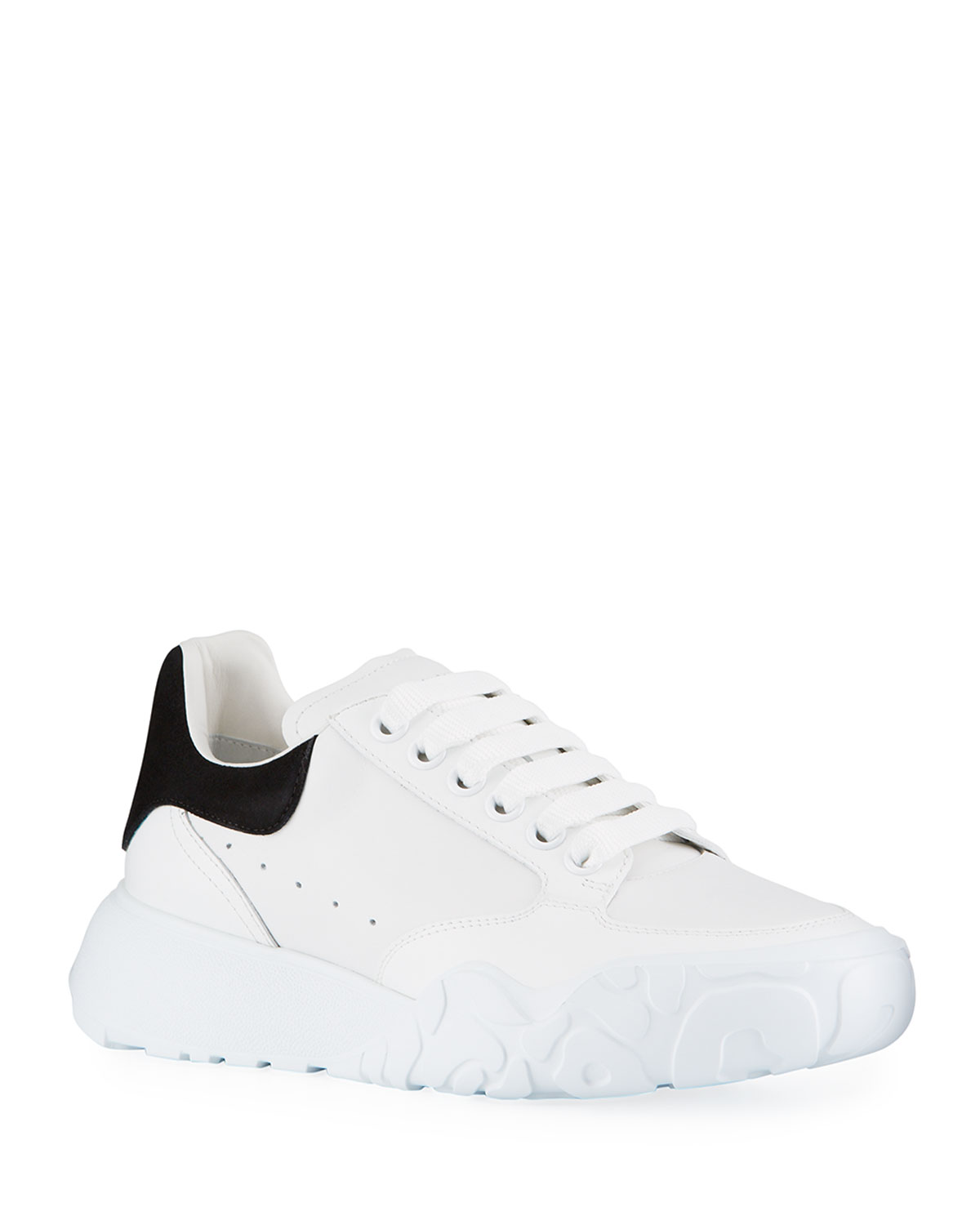 Court Mixed Leather Lace-Up Sneakers