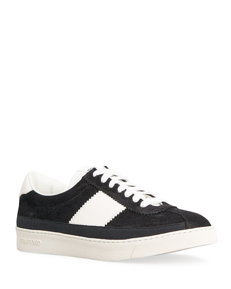 TOM FORD Bannister Contrast Suede Court Sneakers