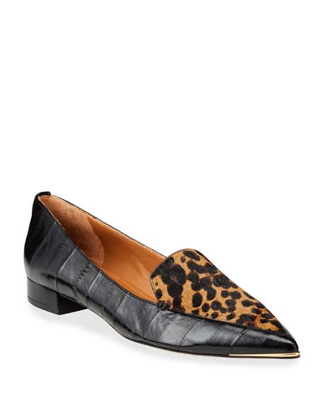 Tory Burch Lila Leopard-Print Eel Flat Loafers