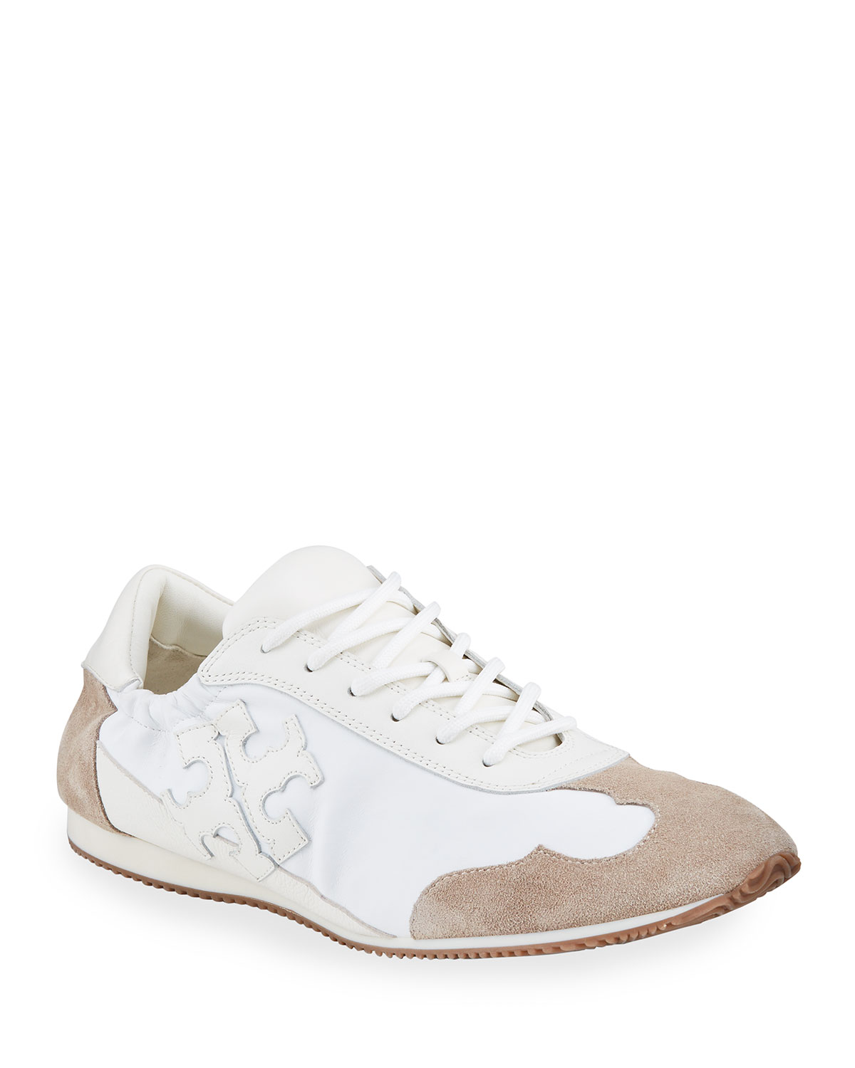 Tory Bicolor Mixed Leather Trainer Sneakers
