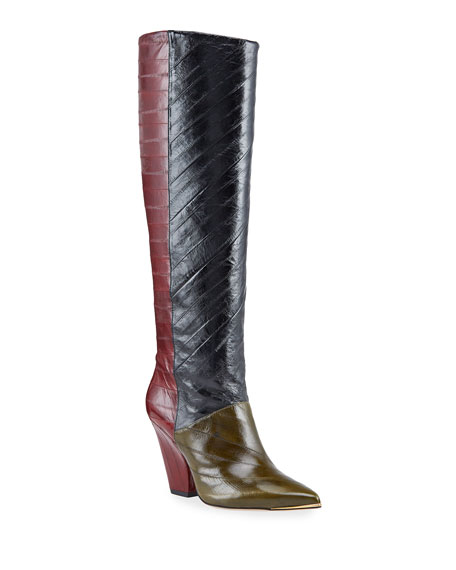 Tory Burch Lila Eel Colorblock Knee Boots