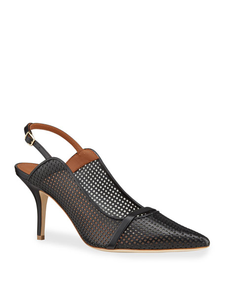 Malone Souliers Perforated Leather Slingback Pumps