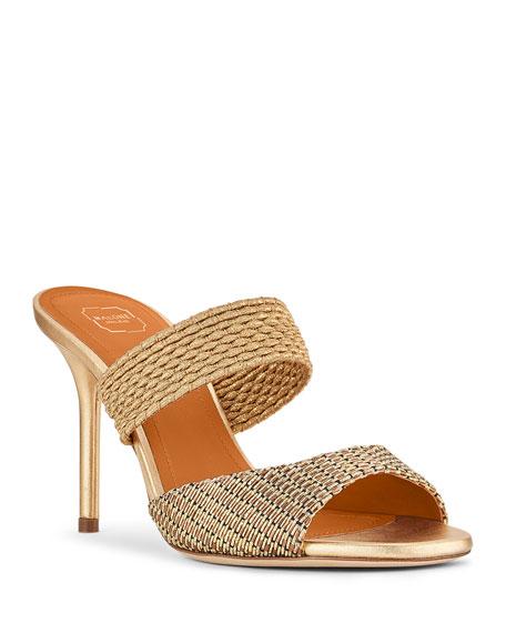 Malone Souliers Milena Metallic Mule Slide Sandals