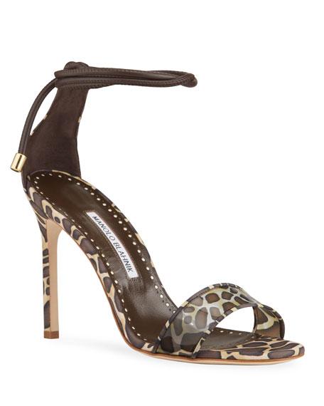 Manolo Blahnik Estro Giraffe-Print Ankle-Tie Stiletto-Heel Sandals