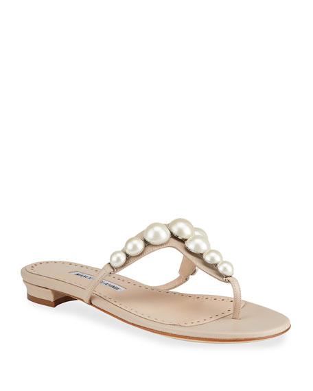 Manolo Blahnik Perlosa Pearly Stud Flat Thong Sandals