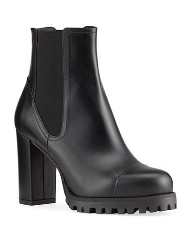 Black Round Toe Ankle Bootie | Neiman