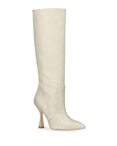Stuart Weitzman Parton Glitter Knee Boots