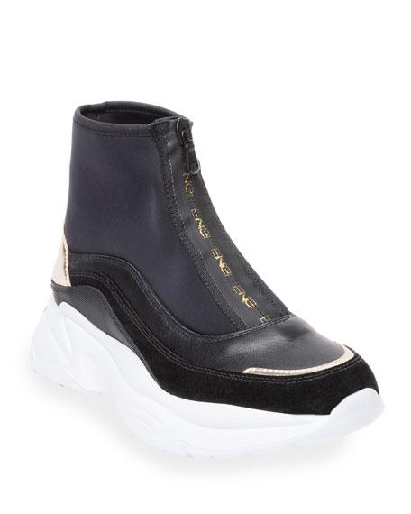 NeroGiardini High-Top Mixed Leather Zip Sneakers