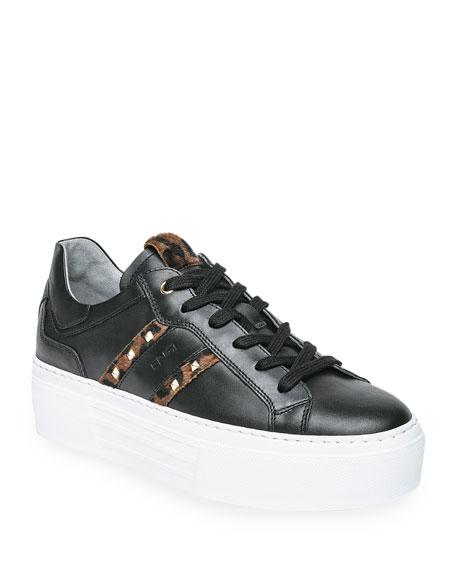 NeroGiardini Leopard-Print Stud Platform Skater Sneakers