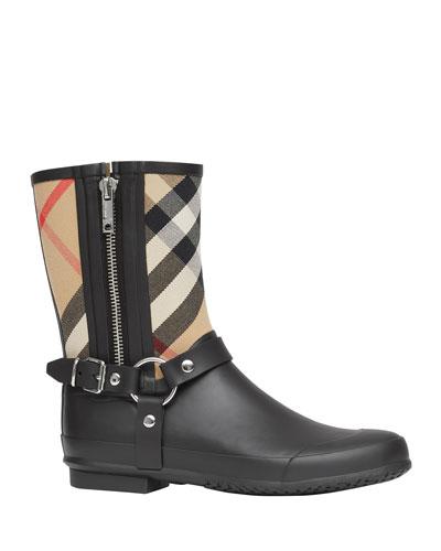Zane Vintage Check Harness Rain Boots
