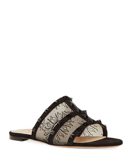 Valentino Garavani Rockstud Lace Caged Flat Slide Sandals