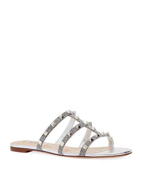 Valentino Garavani Rockstud Metallic Caged Flat Slide Sandals