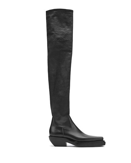 Bottega Veneta 55mm Over-the-Knee Leather Platform Boots