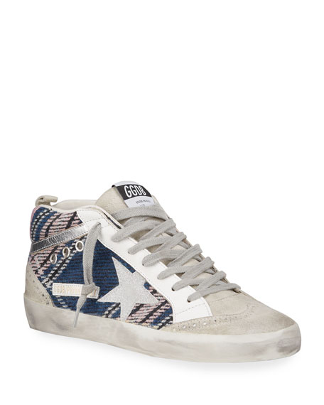 Golden Goose Plaid Mid-Top Skater Sneakers
