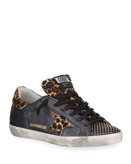 Golden Goose Superstar Leopard-Print Fur Skater Sneakers