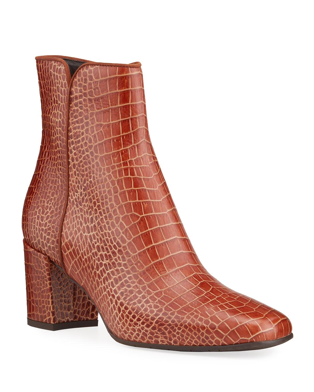 Denisse Moc-Croc Zip Ankle Booties