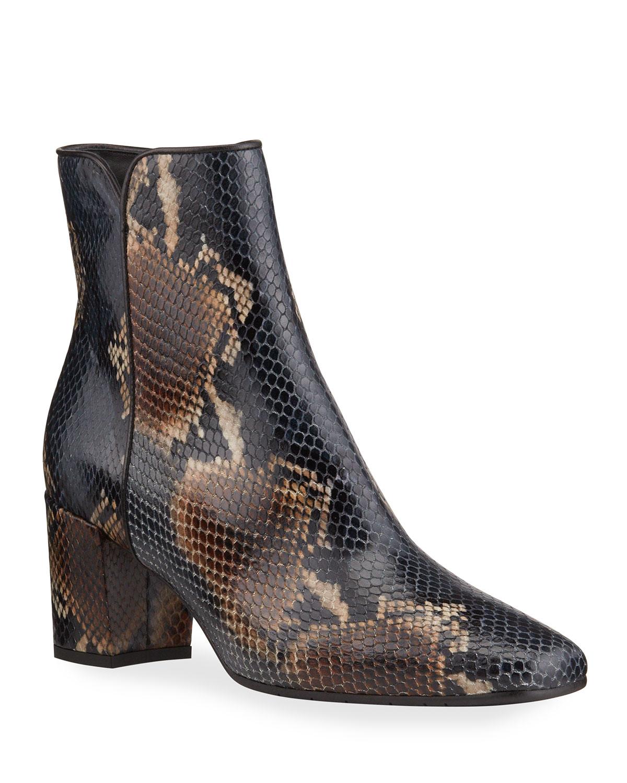 Denisse Snake-Print Zip Ankle Booties