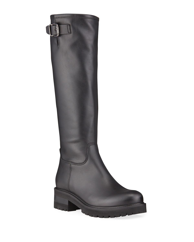 Carey Leather Knee Biker Waterproof Boots